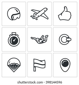 Vector Set of Skydiving Icons. Helmet, Plane, Ready, Time, Skydiver, Ring, Parachute, Landing Place, Wind Direction. Extreme air parachute jump. Isolated symbols on a white background