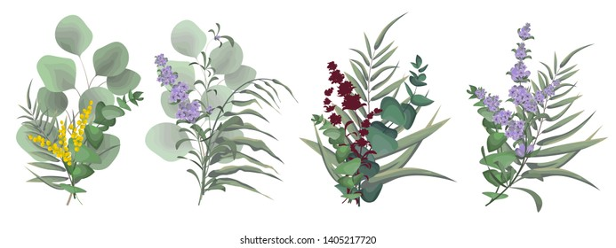 Vector set of small bouquets. Lavender flowers, Mimosa, eucalyptus, green leaves, plants. All elements are isolated.