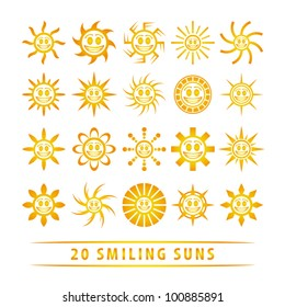 Vector set of smiling suns.