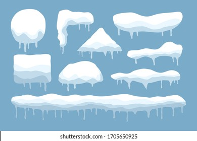 Vector set of snow caps