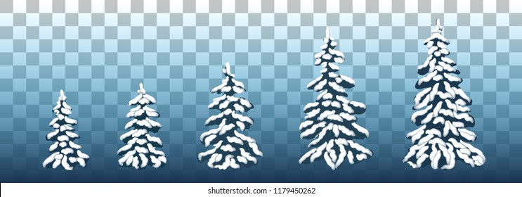 Vector set of snow-covered pine trees for Christmas design, postcards, posters, sales. Different Christmas trees in the snow. Vector illustration. Eps 10.