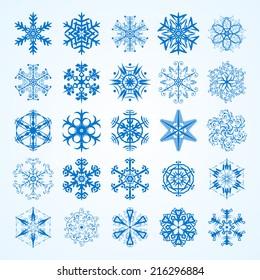 vector set of snowflakesdecorative snowflake winter set
