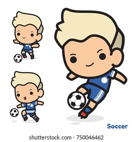 Vector set of soccer cartoon playing ball action , football isolated on white background