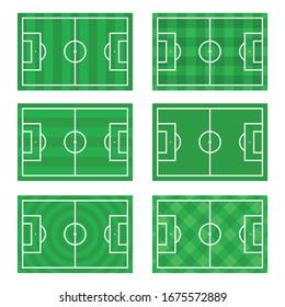 Vector set of Soccer, European football field in top view