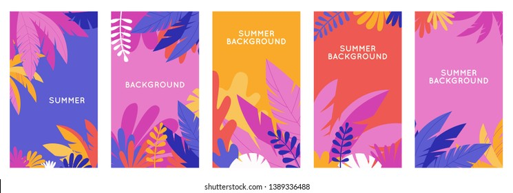 Vector set of social media stories design templates, backgrounds with copy space for text - summer backgrounds for banner, greeting card, poster and advertising - bright banners with leaves and plants