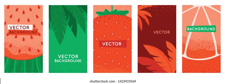 Vector set of social media stories design templates, backgrounds with copy space for text - summer backgrounds for banners, greeting cards, posters and advertising - bright banners with fruits and lea