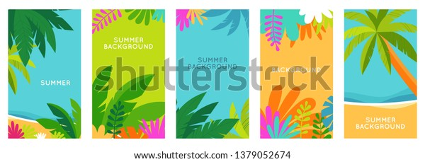 Vector set of social media stories design templates, backgrounds with copy space for text - summer landscape - background for banner, greeting card, poster and advertising - summer vacation concept