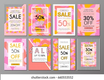 Vector set social media web and mobile banners. Abstract artistic and geometric backgrounds. Elements for sale flyers, posters, cards, ads, promotional material design templates.