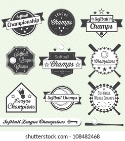 Vector Set: Softball League Champion Labels