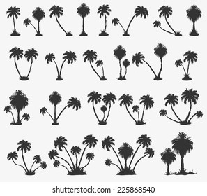 Vector set of solar palm beach in a dark color
