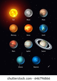 Vector set of Solar System objects: Sun, Moon, Pluto and Planets on space background