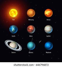 Vector set of Solar System objects: Sun and Planets on space background