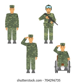 Vector set of soldier man isolated on white background