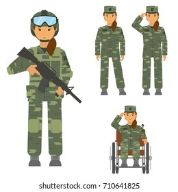 Vector set of soldier woman isolated on white background