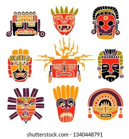 Vector Set of South America Indian  Masks. Tribal Aztec, Maya, Inca Symbols. Hand Drawn Illustration.