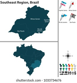 Vector set of Southeast Region of Brazil with flags and map on white background