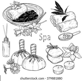 Vector set of spa illustrations, Beauty and health care sketch