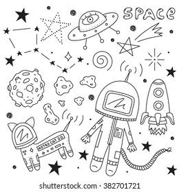 Vector set of space objects. Illustration of astronaut, planets, ufo, rocket, constellations, stars, cosmo cat and asteroids on white background. Perfect for  birthday design and other celebrations.