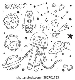 Vector set of space objects. Illustration of astronaut, planets, ufo, rocket, constellations, stars and asteroids on white background. Perfect for stickers, birthday design and other celebrations.