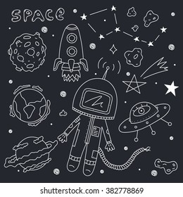 Vector set of space objects. Illustration of astronaut, planets, ufo, rocket, constellations, stars and asteroids on dark background. Perfect for stickers, birthday design and other celebrations.
