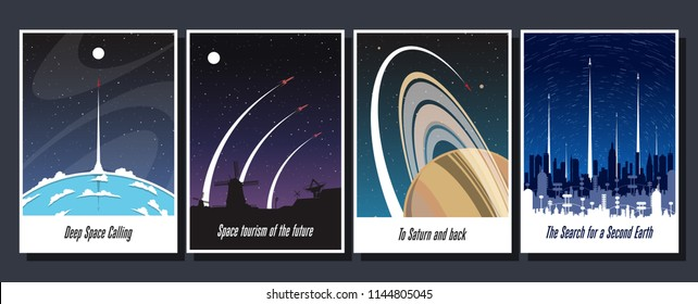 Vector Set of Space Propaganda Posters