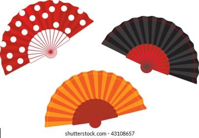 vector set spanish fan illustration
