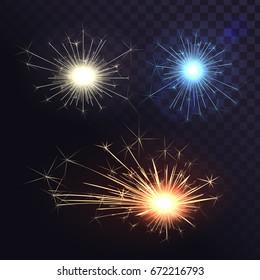 Vector set of sparks, Bengal lights, welding sparks