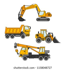 Vector set of special equipment. Machines for construction and repair. Set of icons. Cartoon vector illustration.