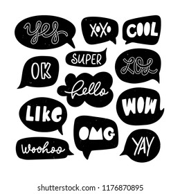 Vector set of speech bubbles in comic style with simple lettering. Dialog phrases: Yes, xoxo, cool, lol, ok, super, hello, wow, omg, yay.