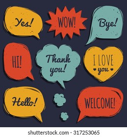 Vector set of speech bubbles in comic style. Hand drawn set of dialog windows with phrases: Hi, Hello, Thank you, Yes, Wow, Bye, Welcome, I love you.