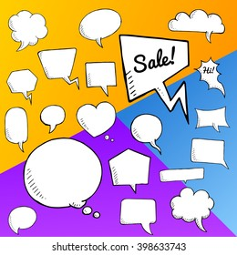 Vector set of speech bubbles, group of doodle speech buble on colorful background