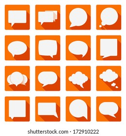 Vector set of speech bubbles with long shadows