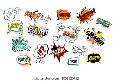Vector set of speech bubbles in pop art style with text. Various sound replicas: Bang, Oops, Boom, Zap. Cartoon design elements for comics book or mobile game