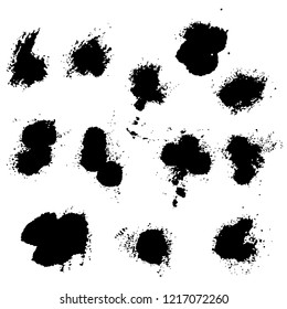 Vector set of splash stains texture banners. Black and white abstract vector illustration.