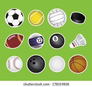 vector set of sport balls