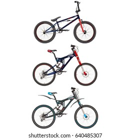Vector set of sport bikes. Bmx and mountain bicycles flat style design elements isolated on white background.