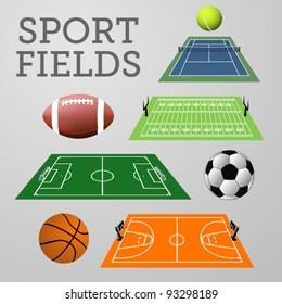 Vector set: sport fields with associated balls