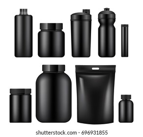 Vector set of sport nutrition container templates isolated on white background. Realistic black plastic jars, foil packages and drink bottles.