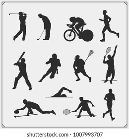 Vector set of sport players silhouettes.