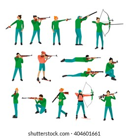 Vector set of sport shooting positions. Design elements and icons isolated on white background.