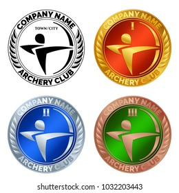 Vector set of sports awards for shooting games. Gold medal with red field, a silver medal with blue field, a bronze medal with green field. Logo of archery club; pictogram of archer made of swooshes.