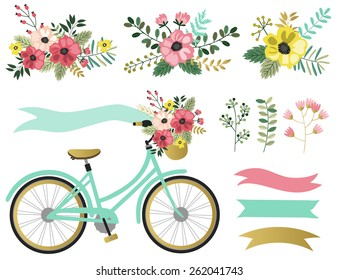 Vector set with spring flowers, ribbons and bicycle. Vector illustration. Vintage collection.