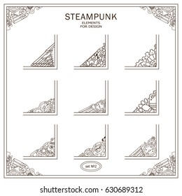 Vector set of square corners for frames, cards, invitations. Steampunk mechanical elements. Hand drawn vintage collection. Wave elements for design