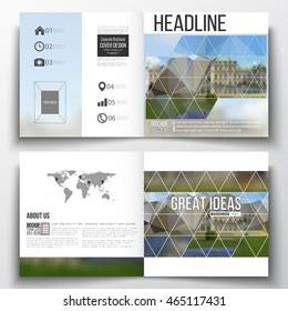 Vector set of square design brochure template. Polygonal background, blurred image, park landscape, modern stylish vector texture.