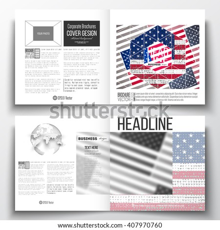 vector set of square design brochure template memorial day background with abstract american flag