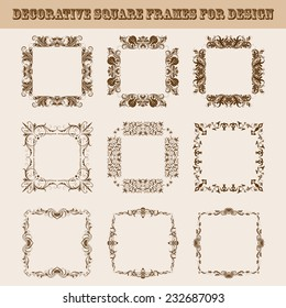 Vector set of square frames for design with floral elements