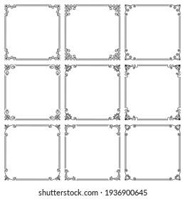 Vector set of square frames with floral ornament. Elegant vintage borders with flourishes, swirls. Design and decoration of covers, websites, brochures, flyers, greeting, wedding cards, invitations