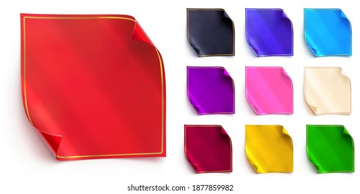 Vector set of square stickers with a folded corners and thin golden frames. Red, black, royal blue and light blue shades. Purple, pink, white, gold and green colors. Realistic banners or foil tags.