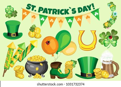 Vector set for St. Patrick's Day with inscription