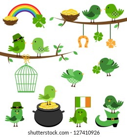 Vector Set of St Patrick's Day Themed Birds - EPS10